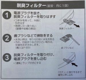 脱臭フィルターの清掃方法